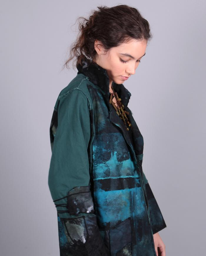 'blue sky over water' hand-painted cotton jacket
