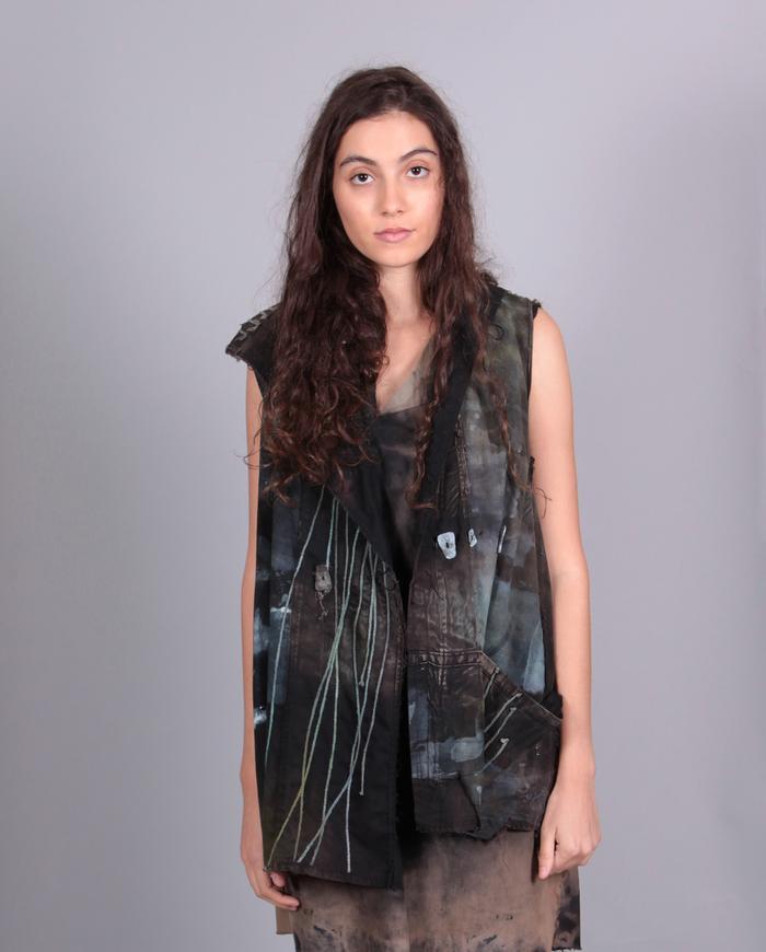 'grass is bluer' distressed modern vest