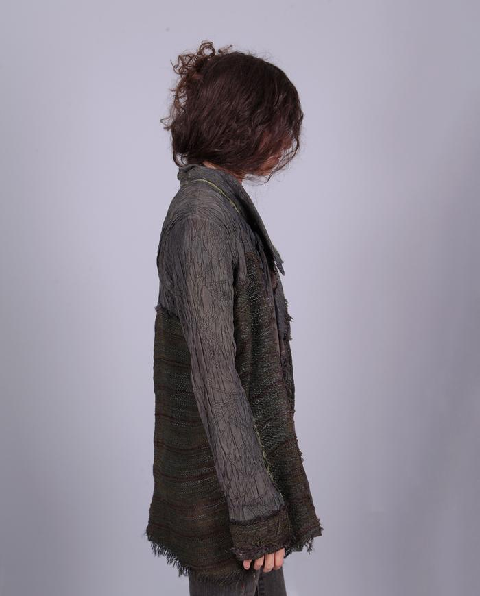 'palpable surface' gray green highly textured silk and leather jacket