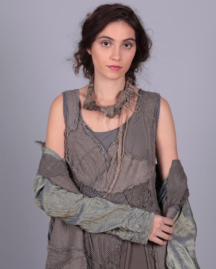 'knotted waterfall' leather necklace