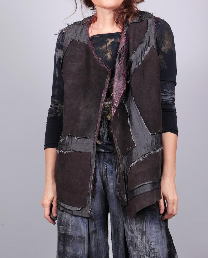 'cranberry wine' reversible metallic silk and leather short vest