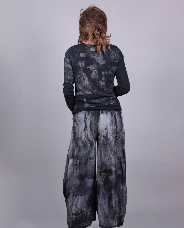 distressed hand-painted pants