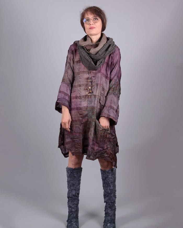'un-antique me' textured hand-dyed silk tunic or dress