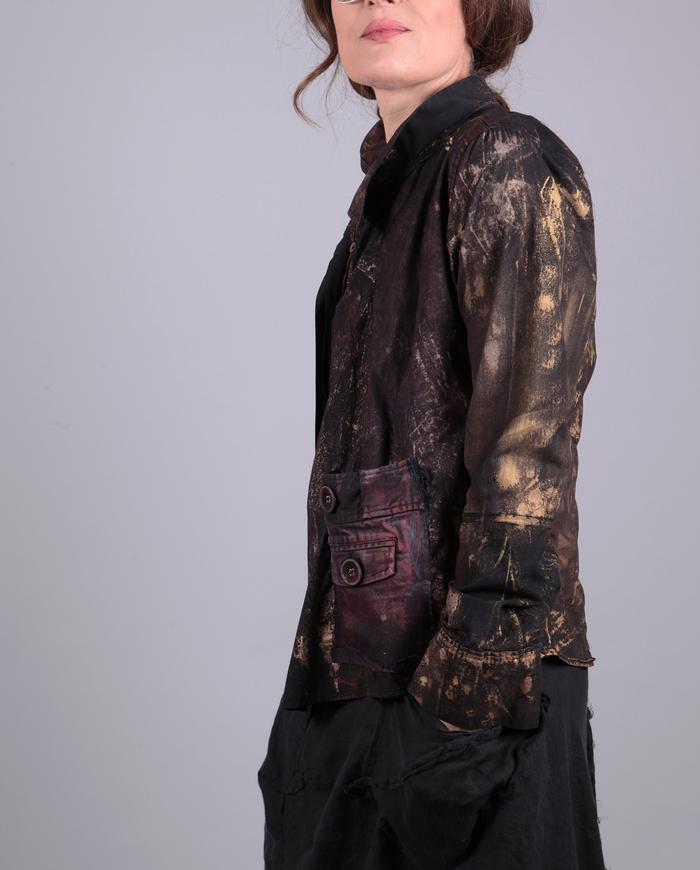 'gold age' hand-painted asymmetrical shirt/jacket