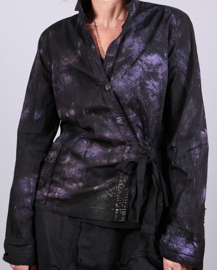 'it's a wrap' one size adjustable black and purple wrap top/jacket