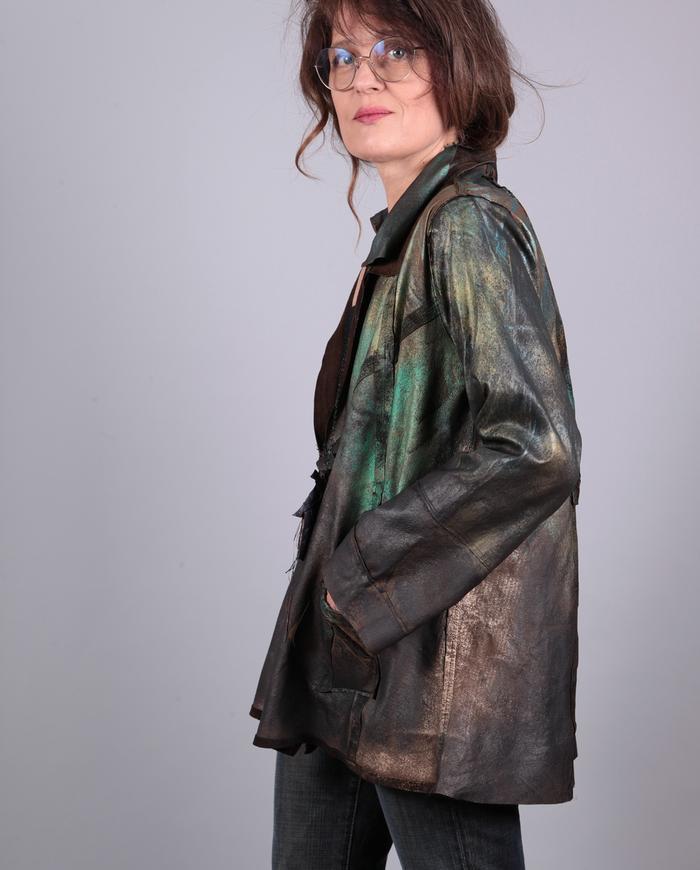 'dragonfly' hand-painted lightweight lambskin jacket
