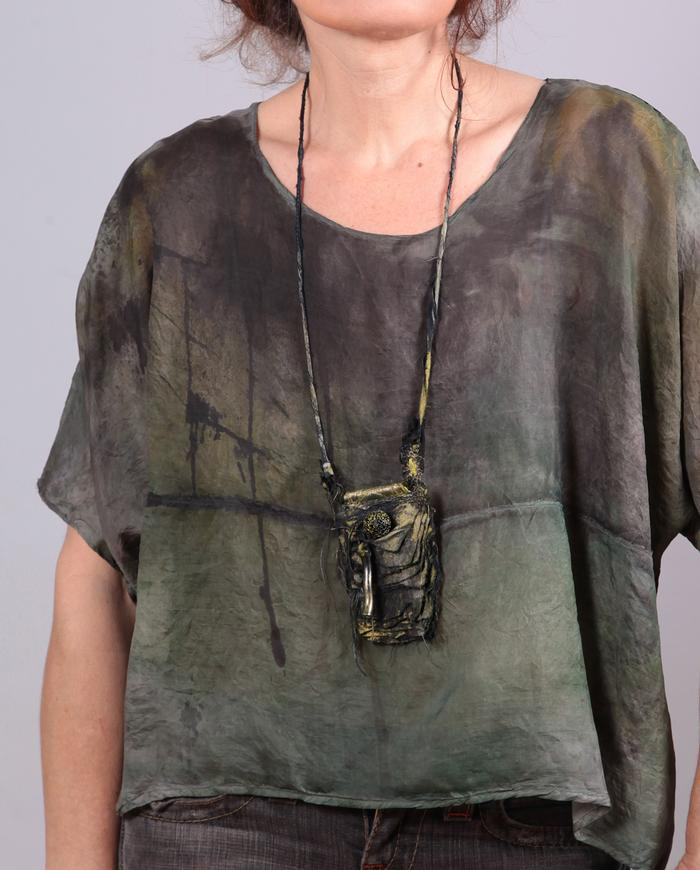 'lift me up' weightless hand-painted silk top