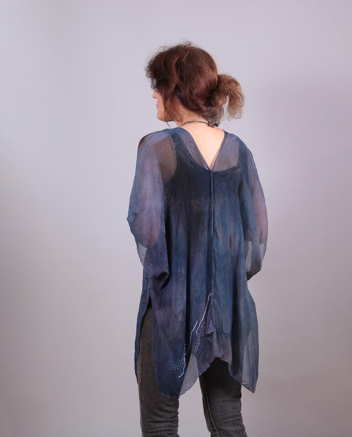 'almost poncho' one-size sheer silk overlay tunic