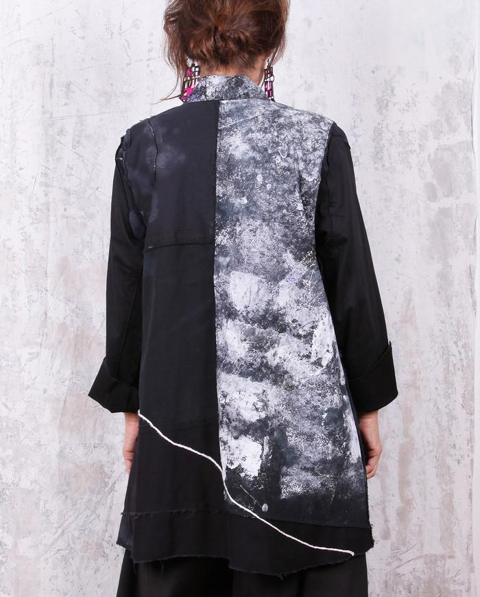 a-line black and white hand-painted modern jacket