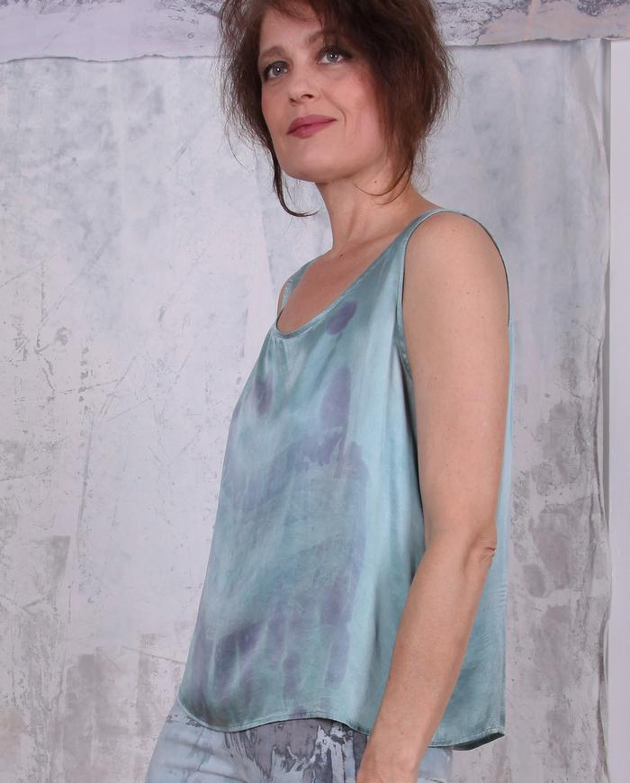 hand-painted silk tank top in mint green