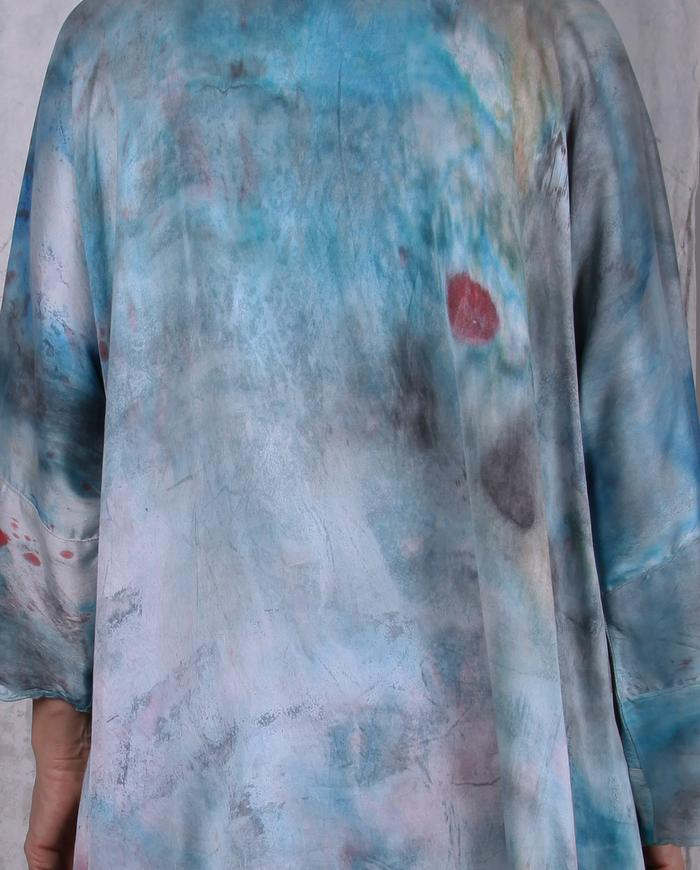 hand-painted art-to-wear oversized silk tunic