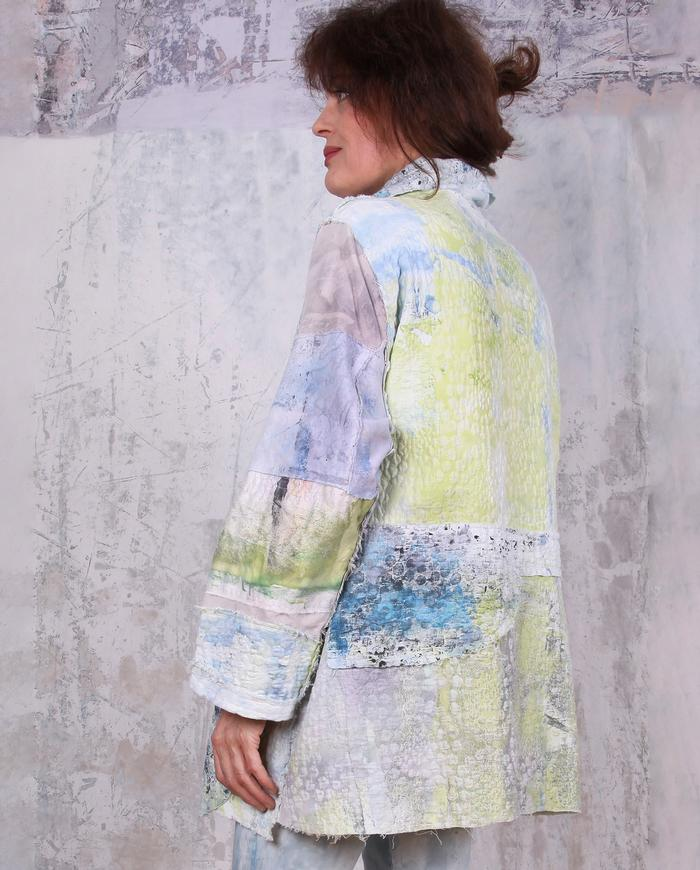 textured A-line impressionistic patchwork jacket in pastels