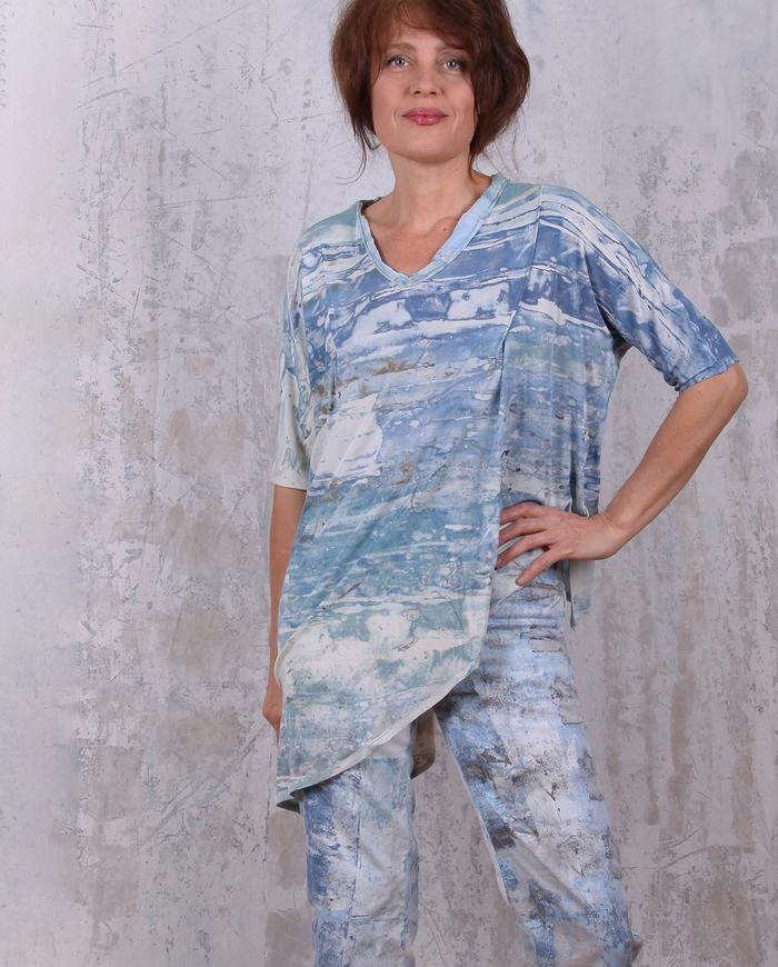 fine knit silk hand-painted asymmetrical loose top