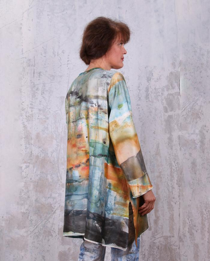 distressed watercolors hand-painted lagenlook silk tunic