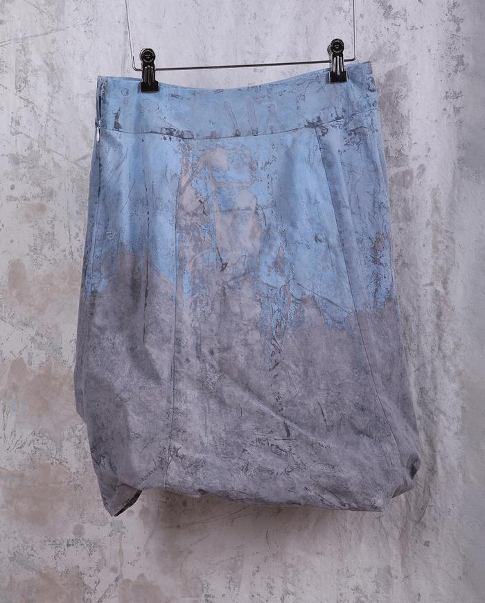 hand-painted above-knee length bubble skirt