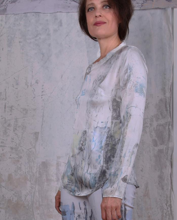 mulberry stretch silk pastels blouse