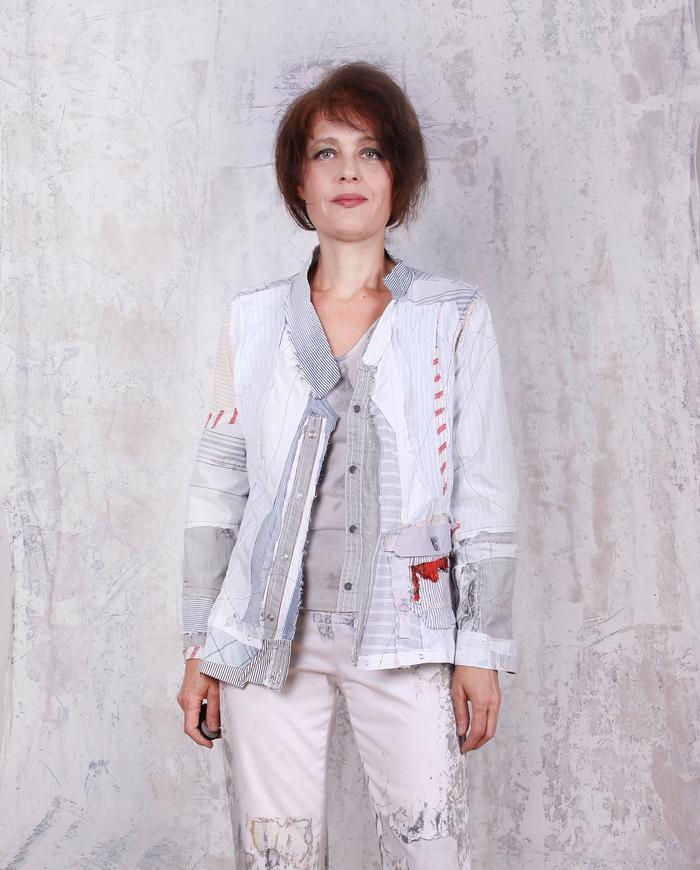 detailed button-down patchwork shirt jacket
