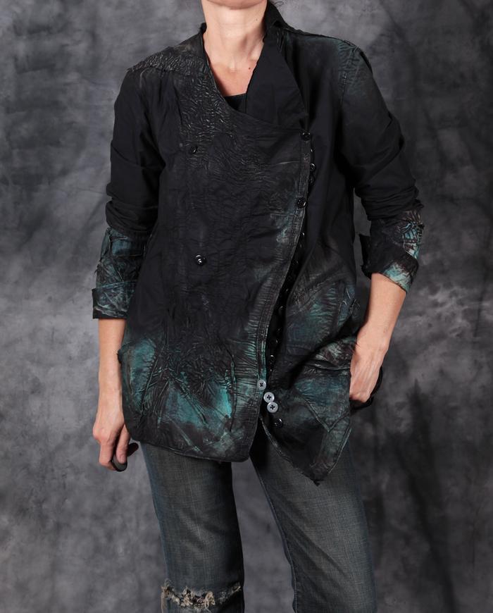 detailed distressed lightweight black/teal button-down shirt jacket